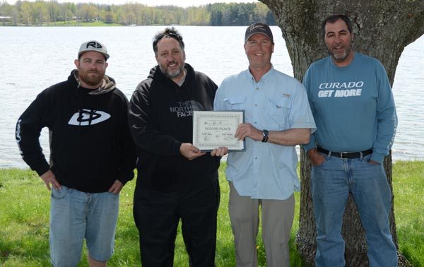 2nd Place, Scott Howe, Jeff Zeisner - with Sam Rankin of Forest City Bassmasters (left) and Pat DeVincenzo of Angling Sports (right).
