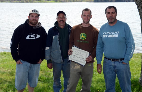 3rd Place, Chris Van Den Berg, Henry Van Den Berg - with Sam Rankin of Forest City Bassmasters (left) and Pat DeVincenzo of Angling Sports (right).