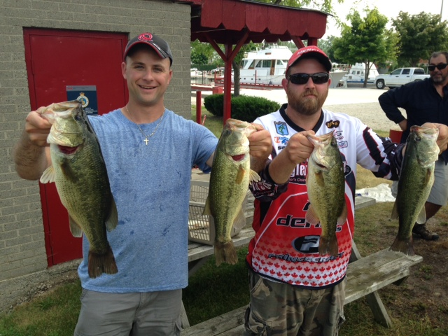 Forest City Bassmasters Rondeau Bay Tournament Winners Mike Craftchick (left) and Sam Rankin (right).