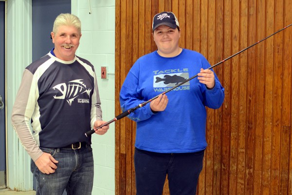 Dave Harris (left) and our casting accuracy champ Spencer Shirley (with new rod).